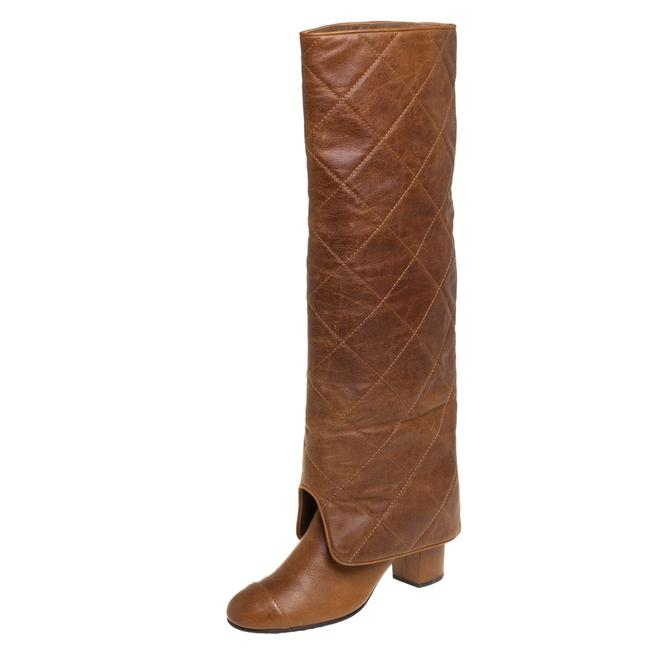 Item - Brown Quilted Leather Fold Over Knee Legnth Size 38 Boots/Booties
