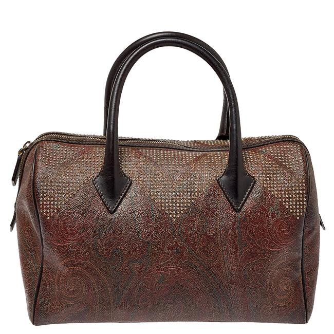 Item - Brown Paisley Printed Coated Canvas Studded Satchel