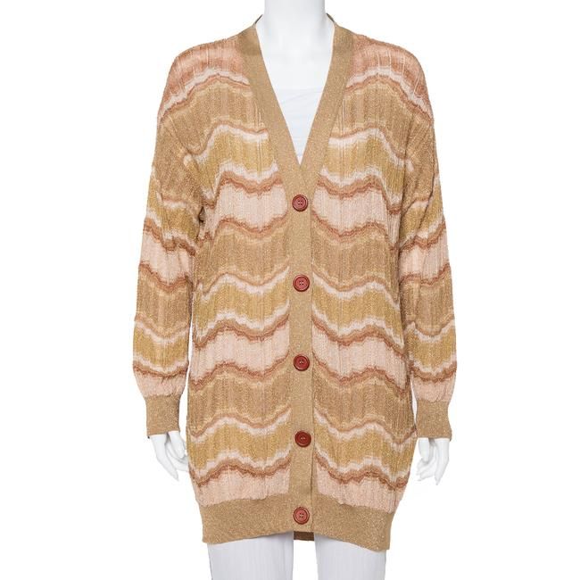 Item - L Gold Lurex Knit Wave Pattern Button Front Cardigan