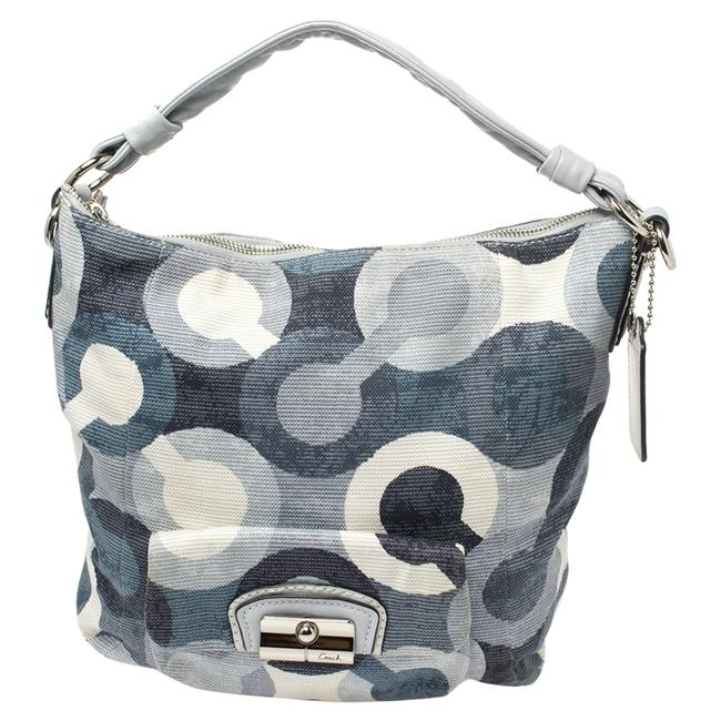 Item - Blue/White Op Art Canvas and Leather Kristin Hobo Bag