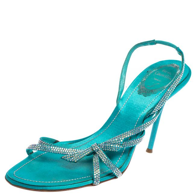 Item - Blue Satin Crystal Embellished Strappy Slingback Size 38.5 Sandals