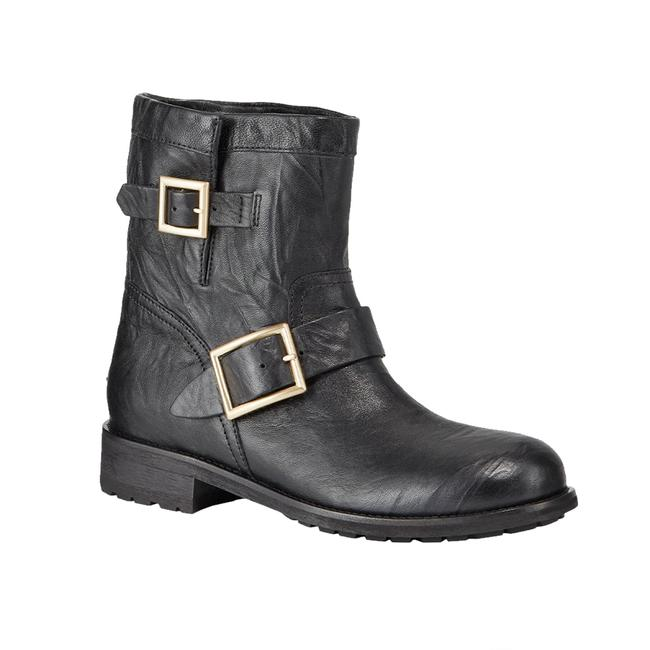 """Item - Women's Leather """"Youth"""" Textured Biker Black Boots/Booties"""