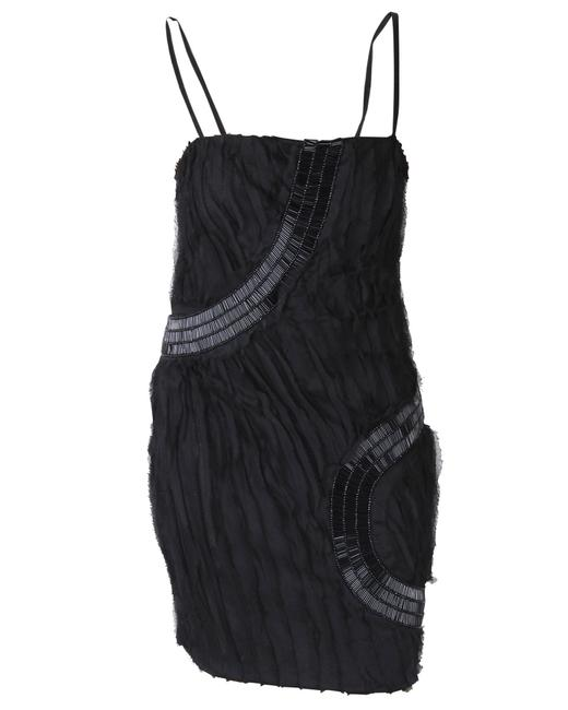 Item - Black Spagetti Strap Mini Dress with Sequin and Ruffle Details