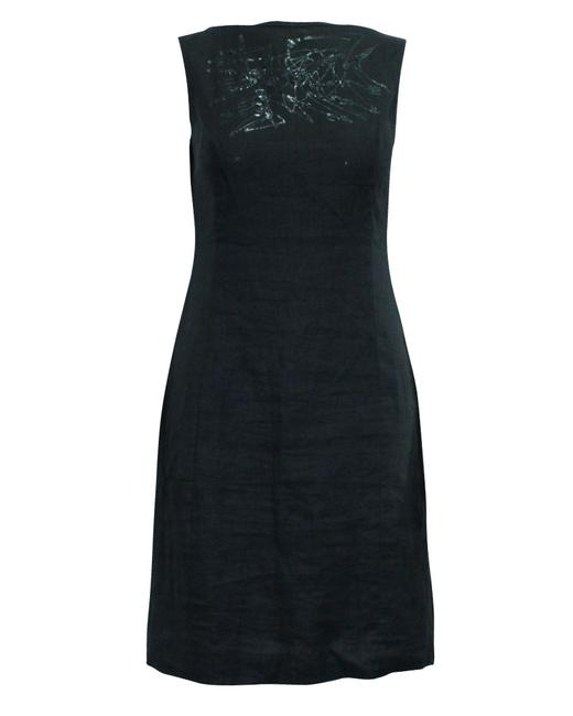Item - Dark Grey Linen Dress with Embellishments At Front