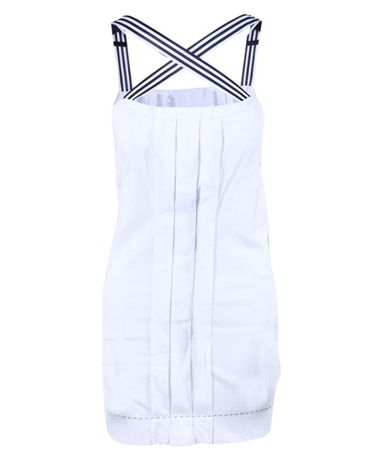 Item - Printed Striped Pleated White Dress
