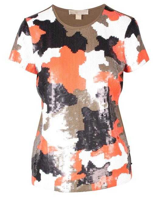 Item - Olive Camouflage Sequined T-shirt Blouse