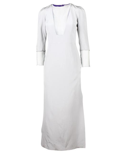 Item - Powder Blue Maxi Dress with Mesh Sleeves and Neck