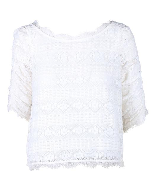Joie Floral Embroidered Fanny White Lace Top Blouse Joie Floral Embroidered Fanny White Lace Top Blouse Image 1