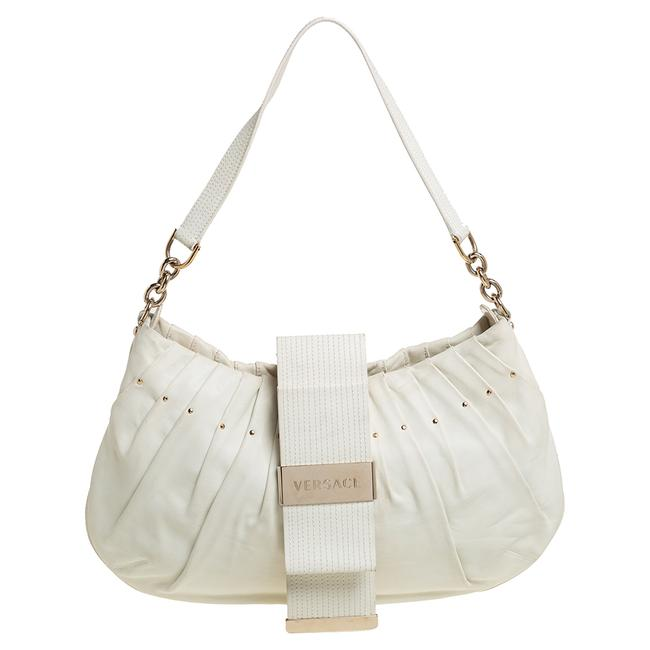 Item - White Pleated Leather Studded Hobo Bag