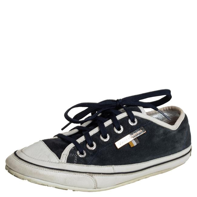 Item - Dolce & Gabbana Blue/White Suede and Leather Low Top Sneakers Size 39 Athletic