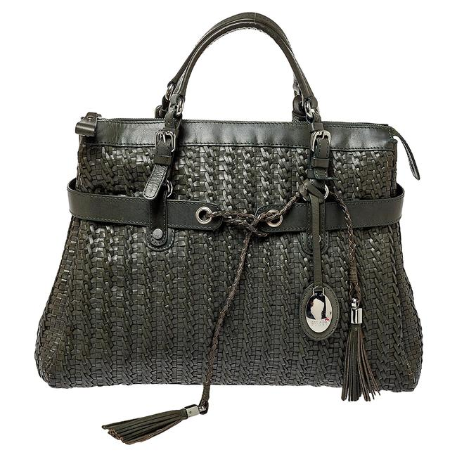 Item - Green Woven Leather Tassel Tote