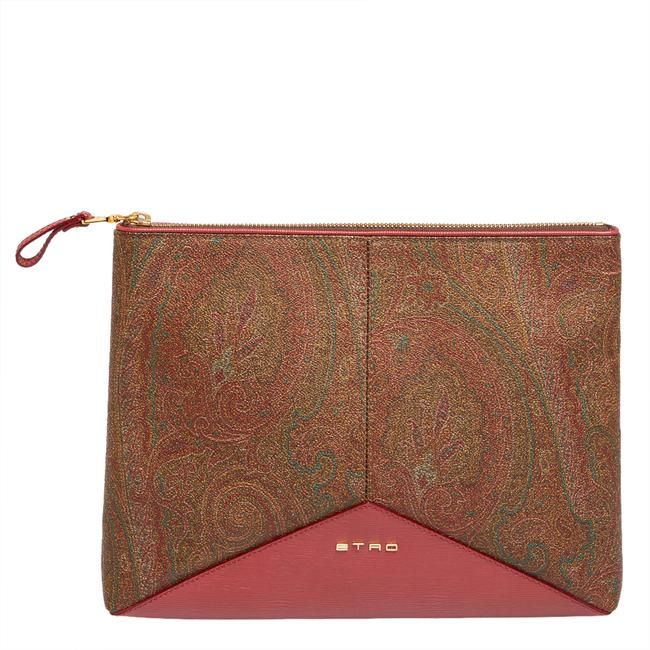 Item - Multicolor Paisley Print Coated Canvas and Leather Slim Zip Pouch Clutch