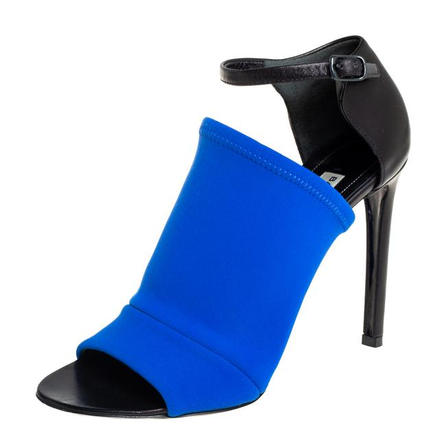 Item - Blue/Black Neoprene and Leather Glove Ankle Strap Size 36 Sandals