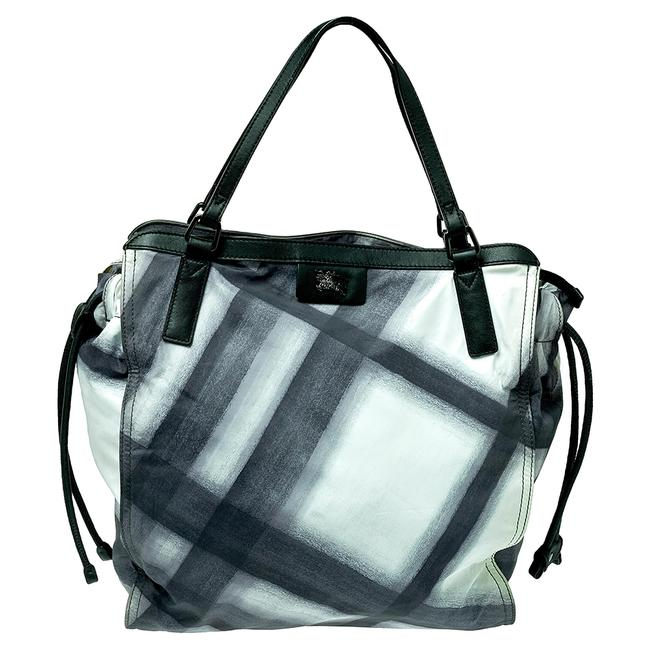 Item - Smoked Check Nylon and Leather Buckleigh Tote