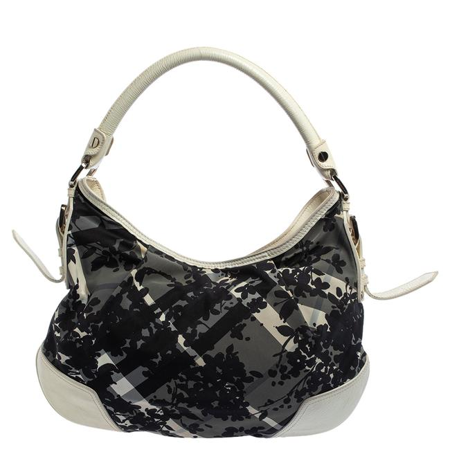 Item - Black/White Floral Beat Check Nylon and Patent Leather Small Foley Hobo Bag