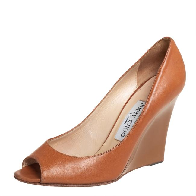 Item - Tan Leather Wedge Peep Size 37 Pumps