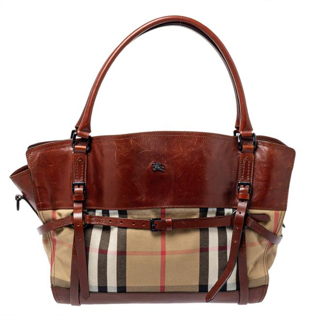 Item - Brown/Beige House Check Canvas and Leather Belted Tote Belt