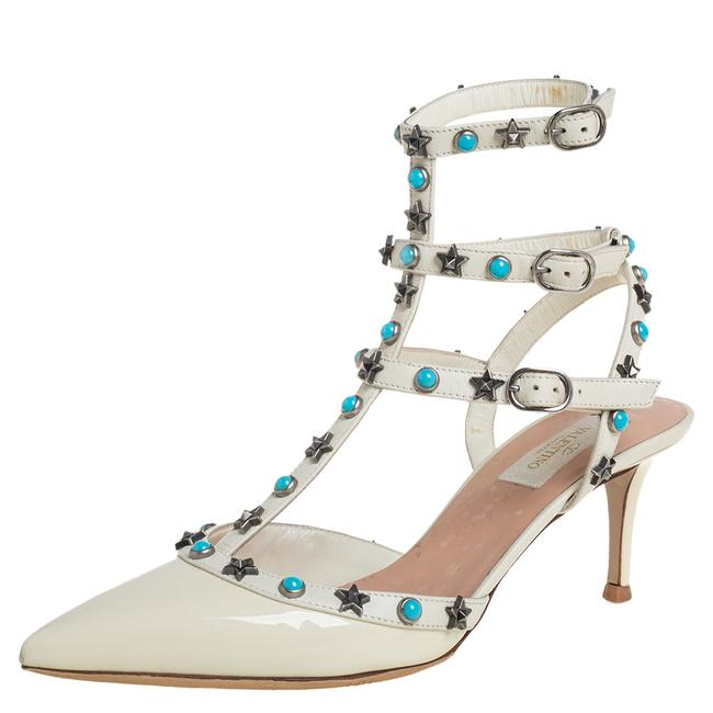 Item - White Patent Leather Studded Ankle Strap Size 39 Sandals
