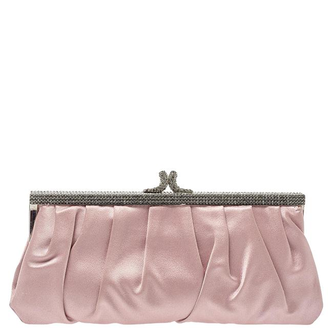 Item - Pink Satin Crystal Embellished Frame Clutch