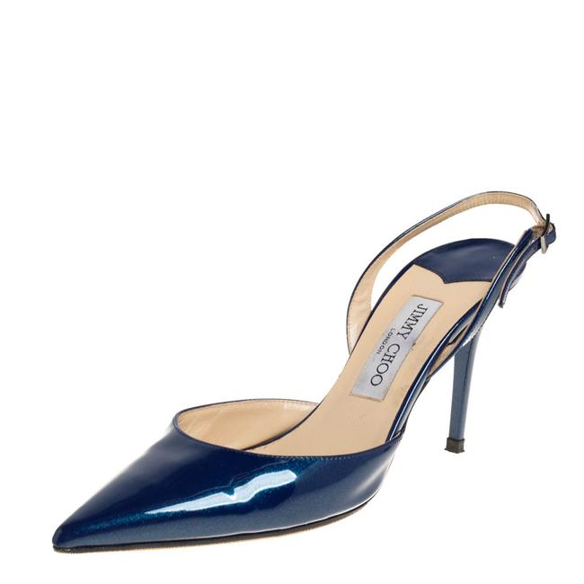 Item - Blue Patent Leather Tilly Pointed Toe Slingback Size 39 Sandals