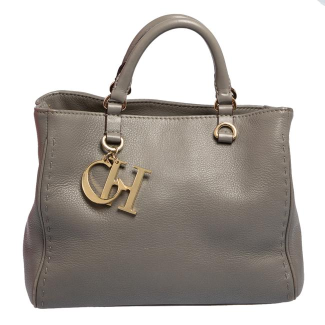 Item - Grey Leather Charm Tote