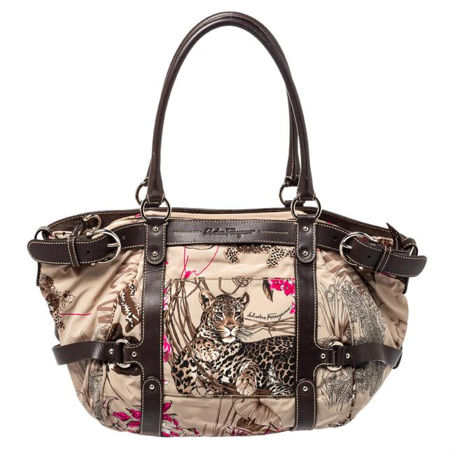 Item - Brown Fabric and Leather Fiera Print Shoulder Bag