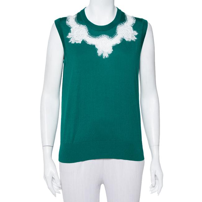 Item - L Dolce & Gabbana Green Silk Lace Detail Sleeveless Top Blouse