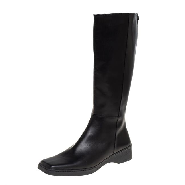 Item - Black Leather Square Toe Mid Calf Size 40 Boots/Booties