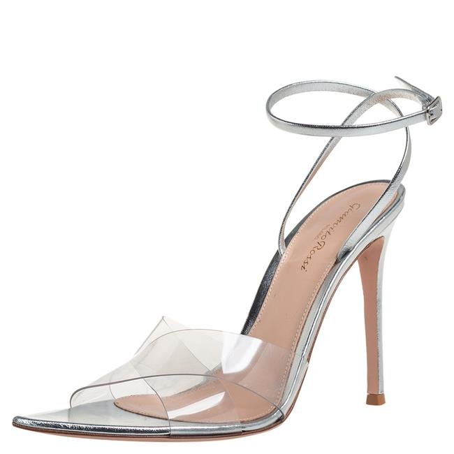 Item - Metallic Silver Leather and Pvc Natalie Ankle Strap Size 39 Sandals