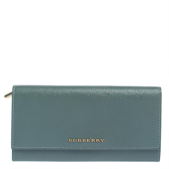 Item - Light Blue Patent Leather Flap Continental Wallet