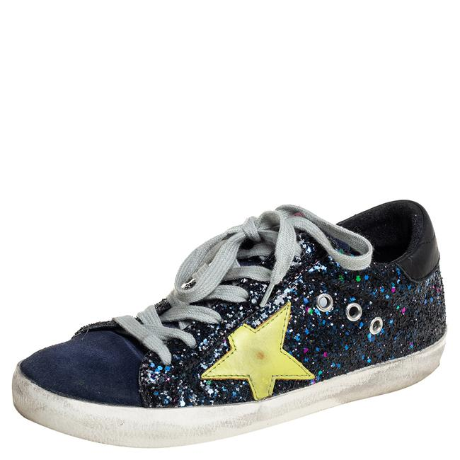Item - Navy Blue Suede and Glitter Super Star Sneakers Size 36 Athletic
