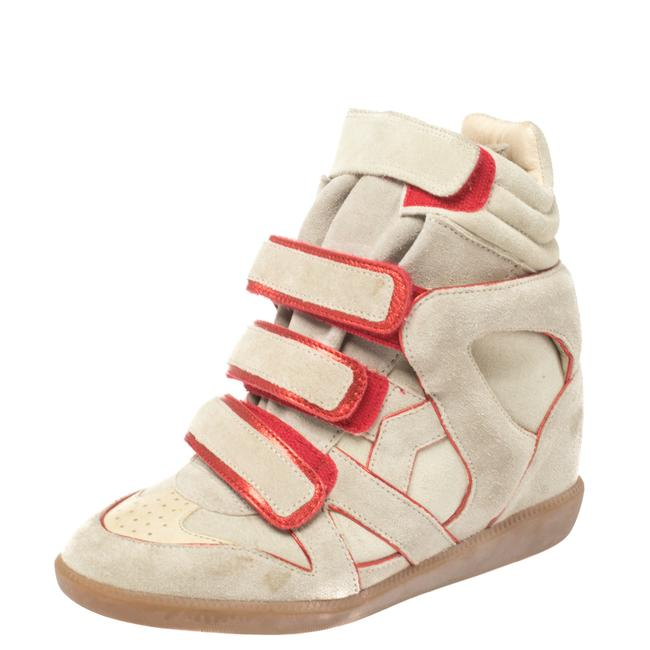 Item - Grey Suede with Metallic Red Leather Trim Bekett Wedge Sneakers Size 36 Athletic