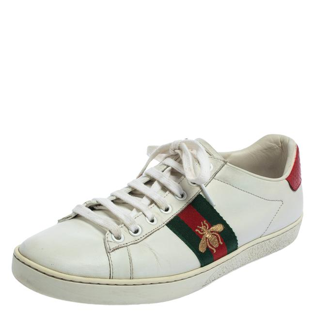 Item - White Leather Bee Ace Low Top Sneakers Size 38.5 Athletic