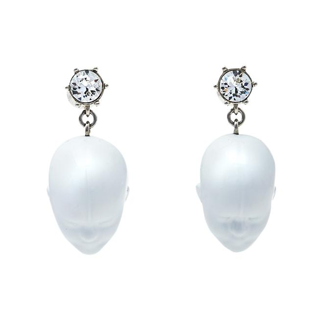 Item - White Resin Palladium Plated Doll Head Drop Earrings Jewelry
