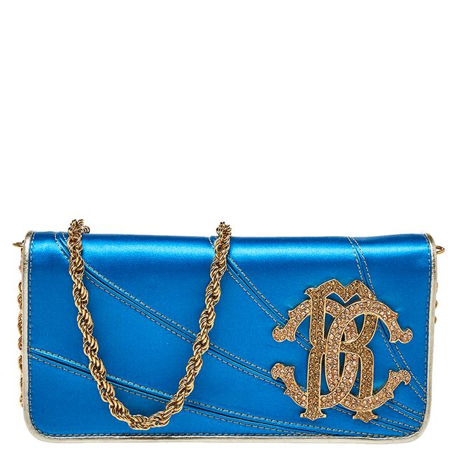 Item - Blue Satin and Leather Logo Embellished Chain Clutch