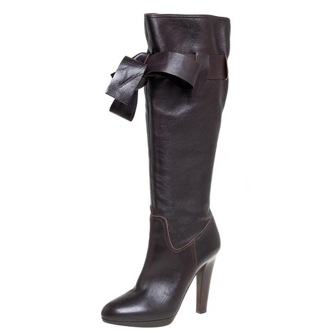 Item - Brown Leather Knee High Size 37.5 Boots/Booties