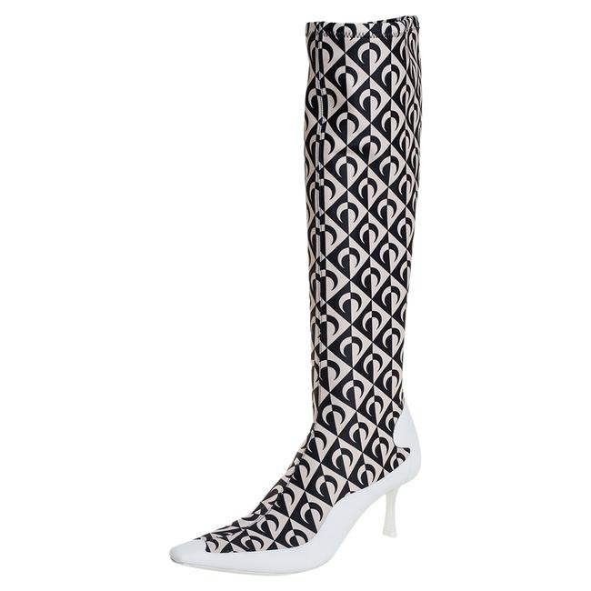 Item - White/Black Leather and Stretch Fabric Knee High Size 37 Boots/Booties