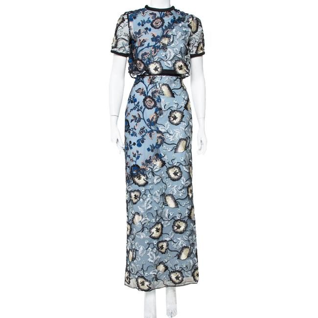Item - Blue Floral Embroidered Layered Florentine Casual Maxi Dress