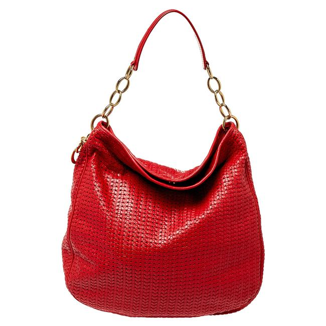 Item - Lady Red Woven Leather Soft Hobo Bag