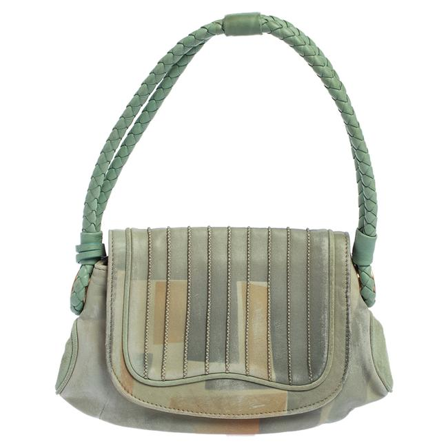 Item - Green Printed Leather Braided Handle Small Shoulder Bag