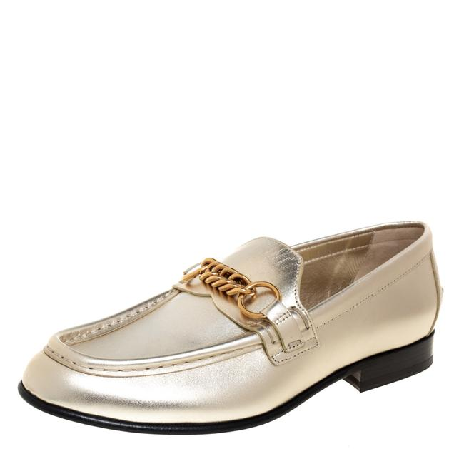 Item - Metallic Light Gold Leather Solway Chain Detail Slip On Size 37 Loafers