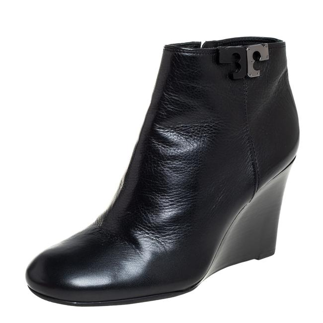 Item - Black Leather Lowell Wedge Ankle Size 37 Boots/Booties