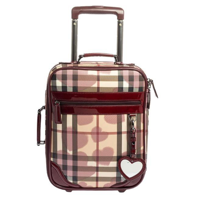 Item - Burgundy Heart Check Coated Canvas and Patent Leather Trolley Weekend/Travel Bag