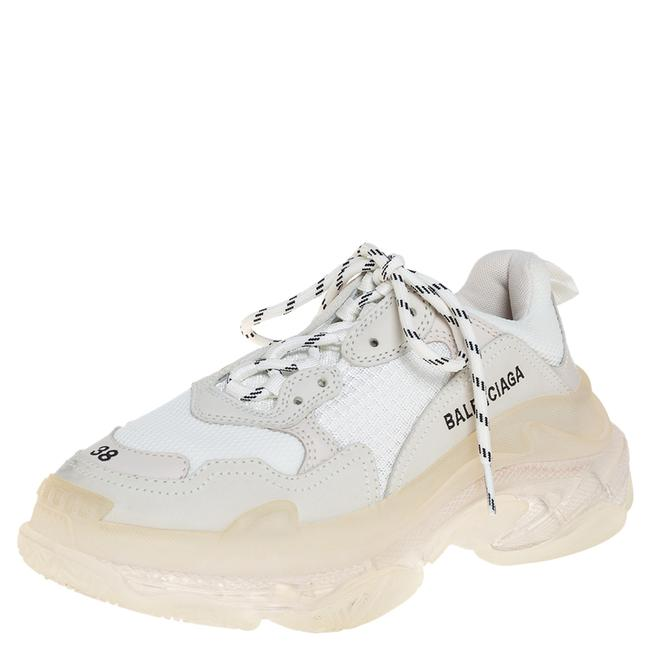 Item - White Mesh and Leather Triple S Clear Sole Platform Sneakers Size 38 Athletic