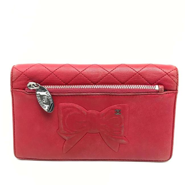 Item - Ribbon Quilted Bifold Red Lambskin Leather Wallet