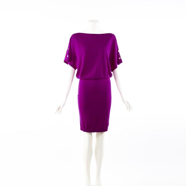 Item - Purple Stretch Knit Draped Knee Length Dress