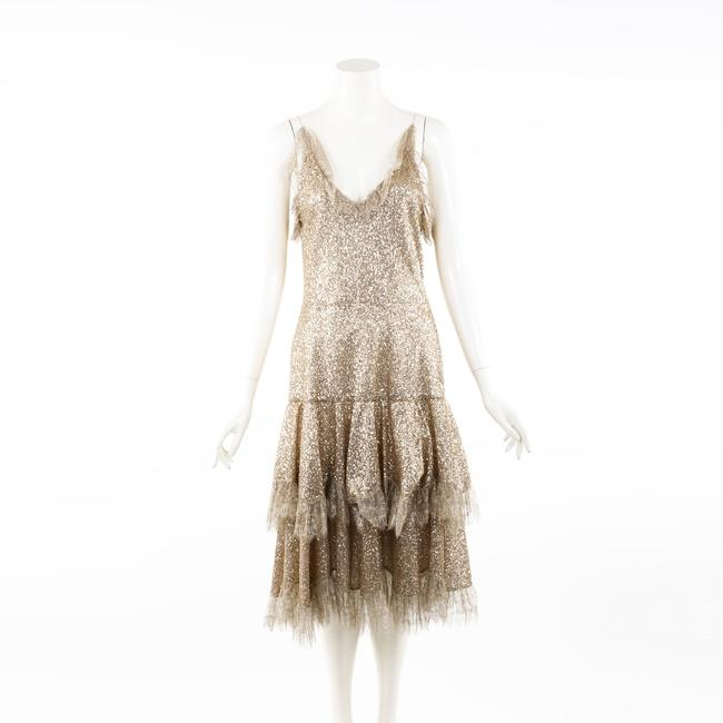 Item - Gold Metallic Sequin Tiered Lace