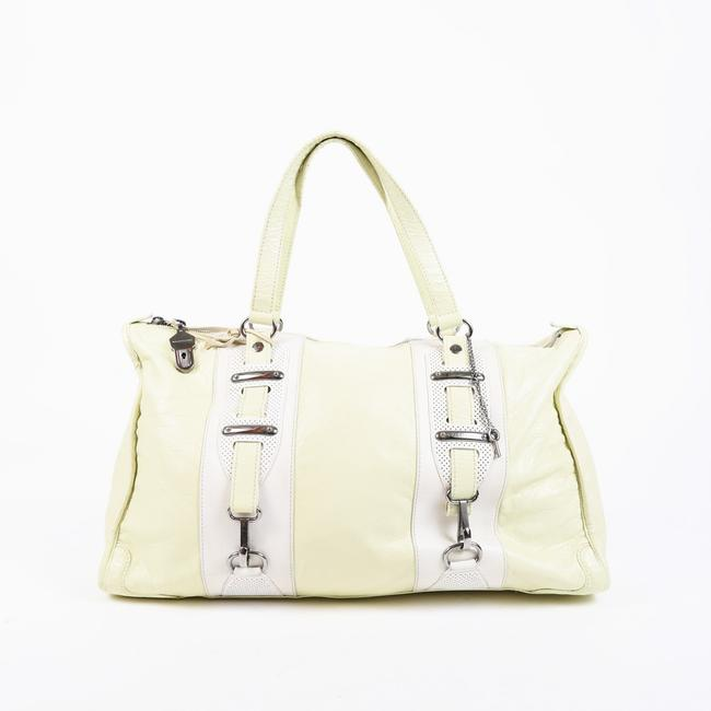 Item - Bag Perforated Hook Yellow Cream Leather Tote