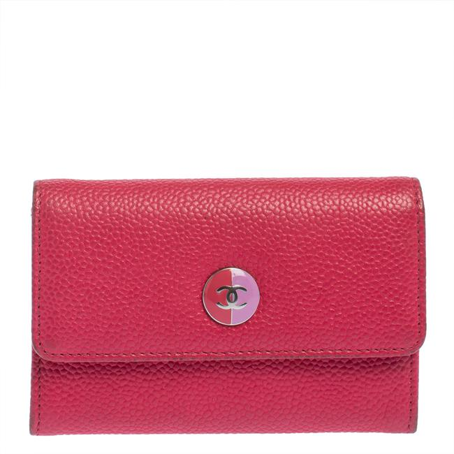 Item - Pink Caviar Leather Cc Flap Card Holder Wallet