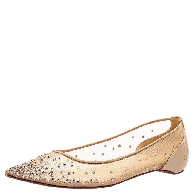 Item - Beige Embellished Mesh Follies Strass Pointed Toe Ballet Size 40 Flats